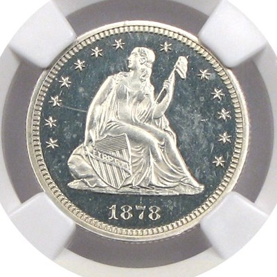 Image of 1878 25c NGC Proof 65 Cameo