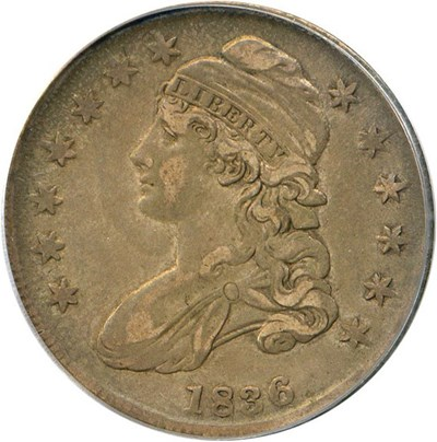 Image of 1836 50c PCGS AU50 (Lettered Edge)