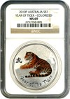 Image of Australia: 2010-P $1 NGC MS69 (Year Of The Tiger-Colorized)