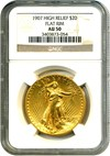 Image of 1907 $20 NGC AU50 (High Relief, Flat Rim)