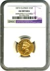 Image of 1873 $3 NGC AU Details (Closed 3, Improperly Cleaned)