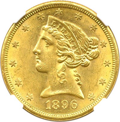 Image of 1896-S $5 NGC MS61