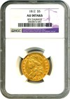 Image of 1812 $5 NGC AU Details (Reverse Damage)