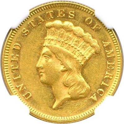 Image of 1871 $3 NGC AU58