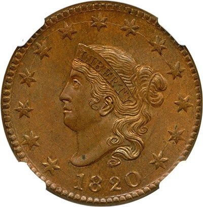 Image of 1820 1c NGC/CAC MS63 BN