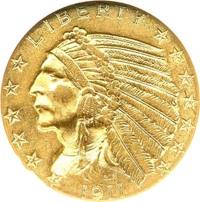 Image of 1911 $5 NGC MS62