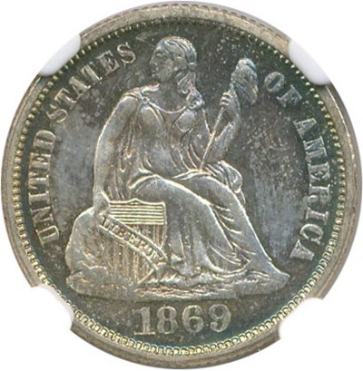 Image of 1869 10c NGC/CAC Proof 64
