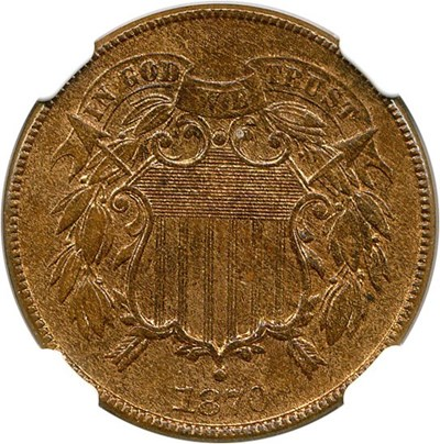 Image of 1870 2c NGC/CAC MS63 BN