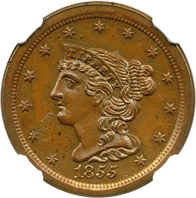 Image of 1855 1/2c NGC/CAC Proof 62 BN