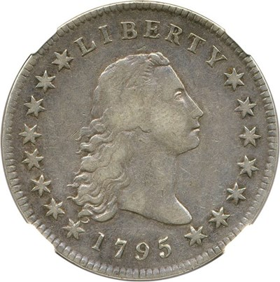 Image of 1795 $1 NGC/CAC VF30 (Flowing Hair, 3 Leaves)