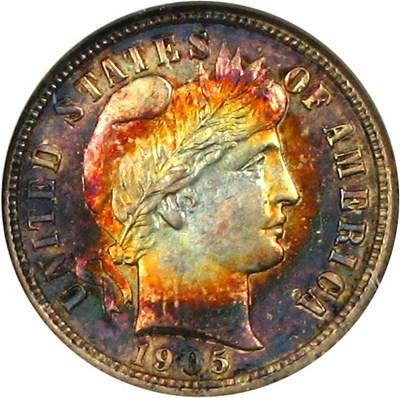 Image of 1905 10c NGC/CAC MS62 * Color *