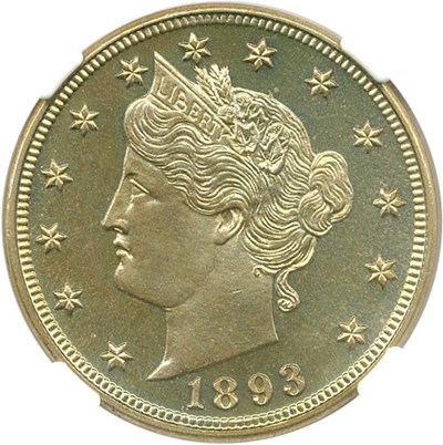 Image of 1893 5c NGC/CAC Proof 66
