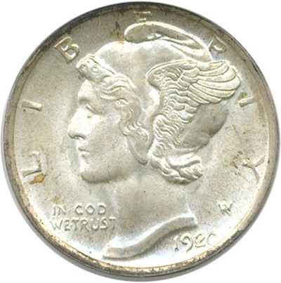 Image of 1920-D 10c PCGS/CAC MS66