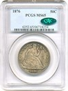 Image of 1876 50c PCGS/CAC MS65