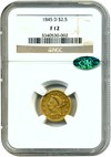 Image of 1845-D $2 1/2 NGC/CAC F12