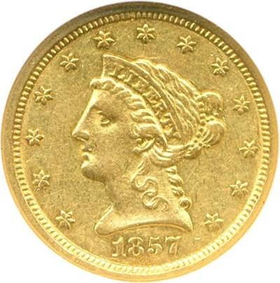 Image of 1857-O $2 1/2 NGC AU50