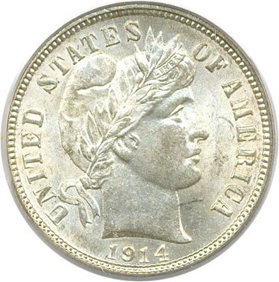 Image of 1914-D 10c PCGS/CAC MS64