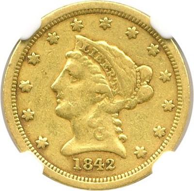 Image of 1842-D $2 1/2 NGC VF25