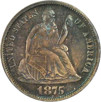 Image of 1875 10c PCGS/CAC Proof 65 * Color *