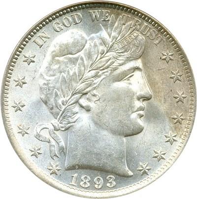 Image of 1893 50c PCGS MS63