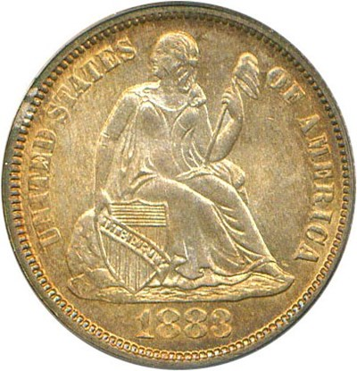 Image of 1883 10c PCGS/CAC MS65