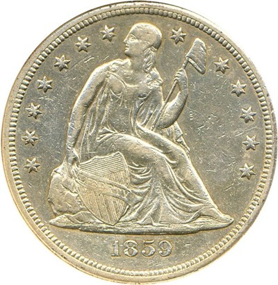 Image of 1859-S $1 NGC AU50