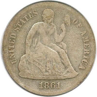 Image of 1861-S 10c PCGS/CAC F12
