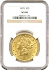 Image of 1878 $20 NGC MS60