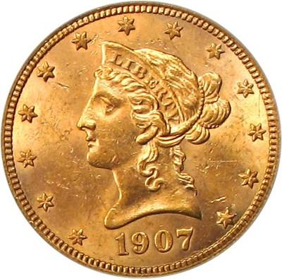 Image of 1907-S $10 PCGS MS61