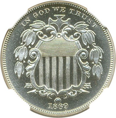 Image of 1869 5c NGC/CAC Proof 66 Cameo