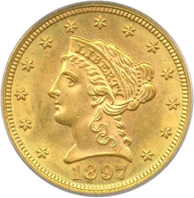 Image of 1897 $2 1/2 PCGS MS63