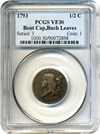 Image of 1793 1/2c PCGS VF30 (Bent Cap, Bunched Leaves)