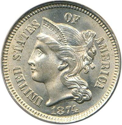 Image of 1874 3cN PCGS/CAC MS65