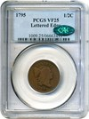 Image of 1795 1/2c PCGS/CAC VF25 (with Pole, Lettered Edge)