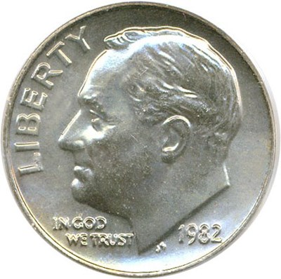 Image of 1982 no P 10c PCGS MS66  OGH