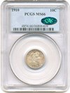 Image of 1910 10c PCGS/CAC MS66