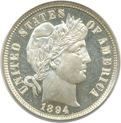Image of 1894 10c PCGS/CAC Proof 66 Cameo