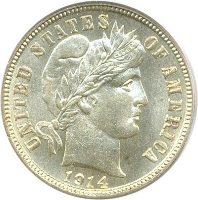 Image of 1914 10c PCGS/CAC MS66