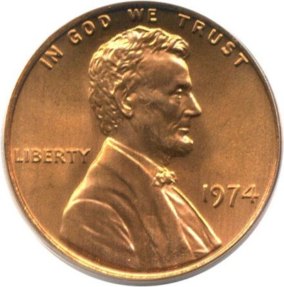 Image of 1974 1c PCGS MS67 RD
