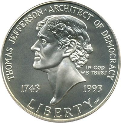Image of 1993-P Jefferson $1 PCGS MS70