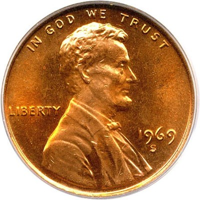 Image of 1969-S 1c PCGS MS66 RD