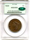 Image of 1820 1c PCGS/CAC MS64 BN OGH