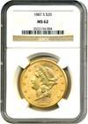 Image of 1887-S $20 NGC MS62