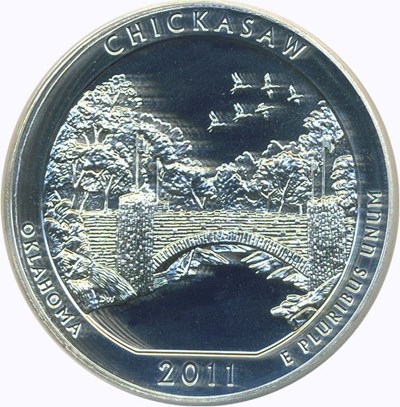 Image of 2011 25c PCGS MS69 DMPL (Chickasaw, First Strike)