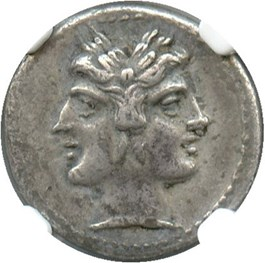 Image of 225-214/2 BC Anonymous Half-Quadrigatus NGC Ch VF (Ancient Roman) Strike:5/5; Surface 4/5