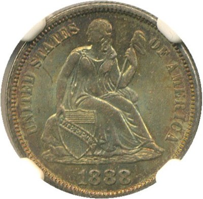 Image of 1888 10c NGC/CAC MS66 * Color *