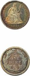 Image of 1881 10c PCGS/CAC Proof 65 * Multicolor Toned Gem *