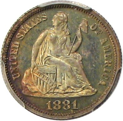 Image of 1881 10c PCGS/CAC Proof 65 * Multicolor Toned Gem *