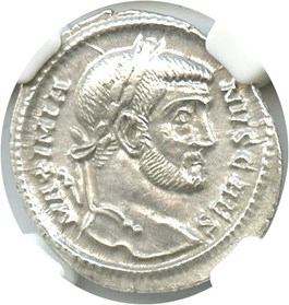 Image of AD 305-311 Galerius AR Argenteus NGC AU (Ancient Roman) Strike:3/5; Surface 4/5