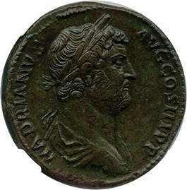 Image of 117-138 AD Hadrian AE Sestertius NGC Ch XF  (Ancient Roman) Strike:5/5; Surface 3/5 - Vault Value!